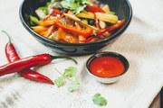 Taste the new sriracha sauce at Goodman's store.