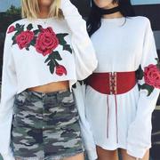 Women Vintage Embroidery Flower Long Sleeve Tee Loose Crop Top Blouse