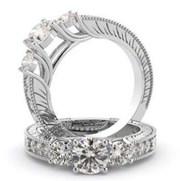Three Stones Engagement Rings | Three Stone Wedding Rings | Goldenet